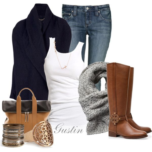 Casual Outfit: Woman Fashion, Style, Clothing, Casual Fall, Fall Outfits, Fashionista Trends, Brown Boots, Casual Outfits, Navy Cardigans