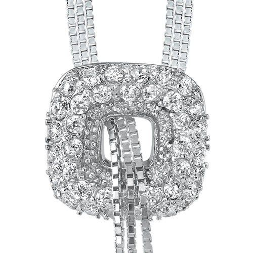 Ultimate Glamour: Designer Inspired Sterling Silver Rhodium Finish Tassel Style Triple Chain Cubic Zirconia Necklace Peora. $44.99