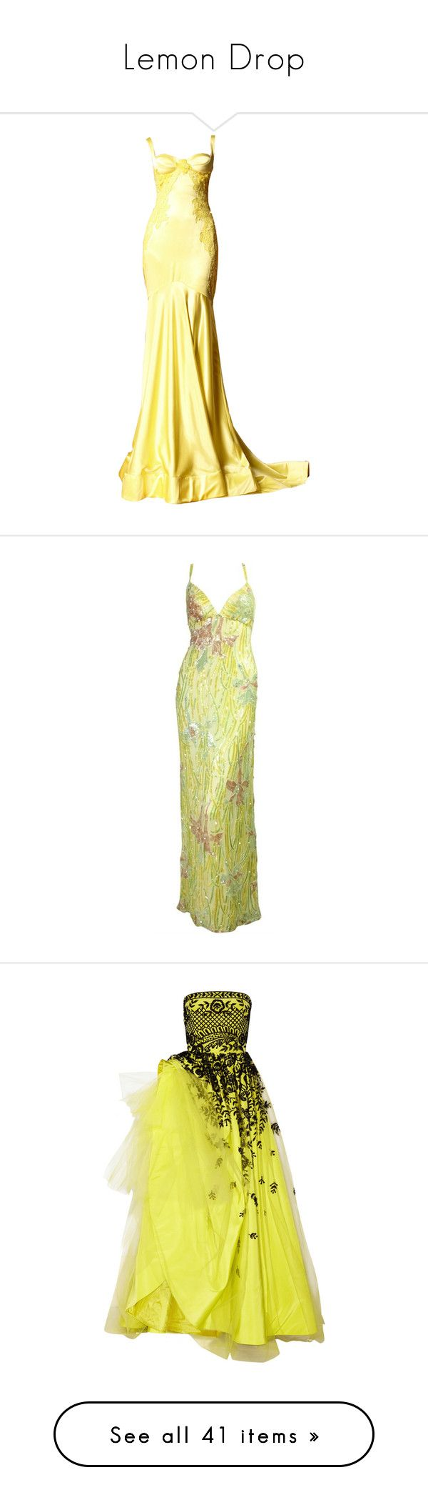 """Lemon Drop"" by sharonbeach ❤ liked on Polyvore featuring dresses, gowns, long dresses, versace, long dress, oscar de la renta, chartreuse, yellow gown, tulle dress and silk gown"