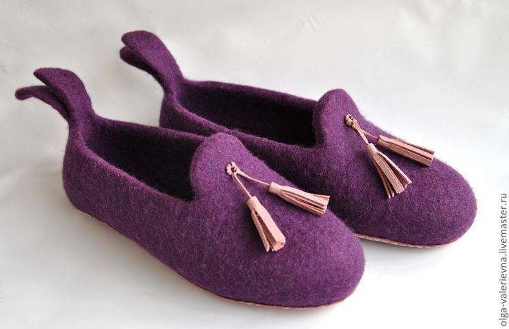 Купить Лоуферы. - тёмно-фиолетовый, тапки, тапки из войлока, тапки валяные, тапки из шерсти, тапочки