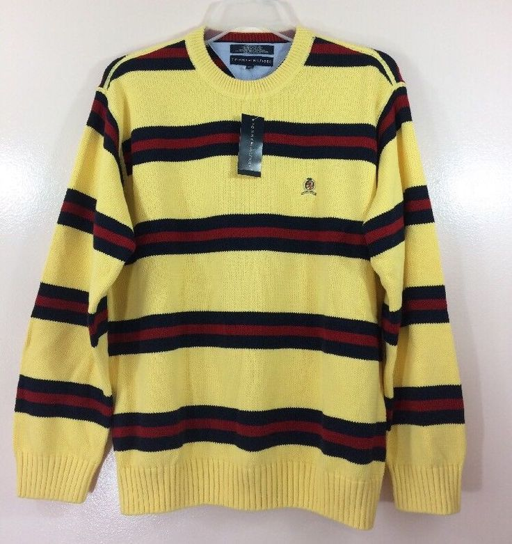 Tommy Hilfiger Men's XL Yellow Red Blue Flag Colors Cotton Sweater Crewneck #TommyHilfiger #Crewneck