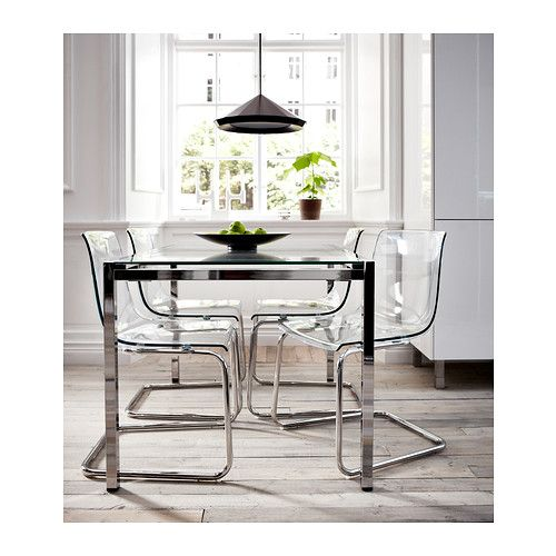 TOBIAS Chair, clear, chrome plated and torsby table