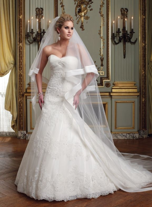 Tulle Two Tiered Finger Tip And Cathedral Length Veil With Folded Organza Bias Band Sold