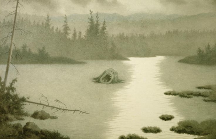 'Nøkken screams'  by Theodor Severin Kittelsen