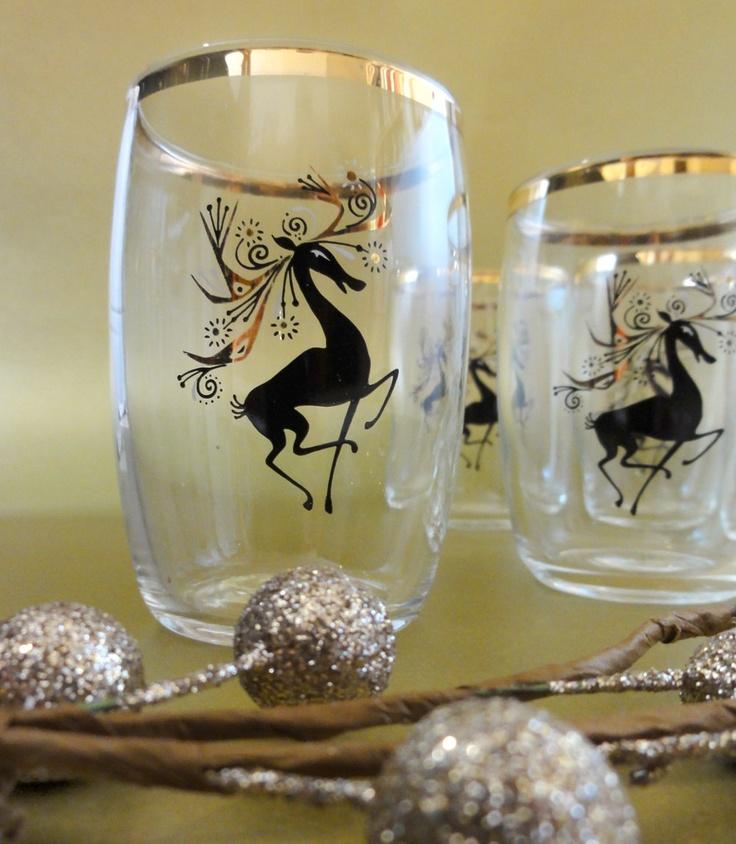 Mid Century Reindeer Shot Glasses