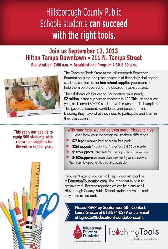 Hillsborough Education Foundation Tools for Schools Fundraising Breakfast