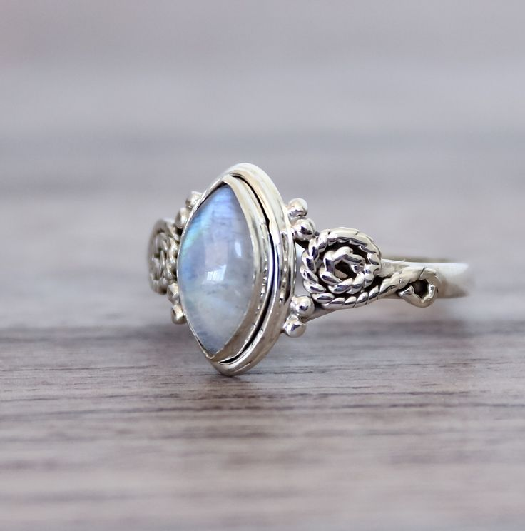 Moonstone Oval Ring | Tribal | Bohemian Gypsy Jewelry | Boho Festival Jewellery | Hippie Style Fashion | Indie and Harper