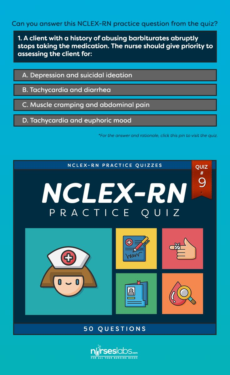 NCLEX-RN Practice Exam #9 (50 Questions)  For answers: http://nurseslabs.com/nclex-practice-exam-9-50-items/