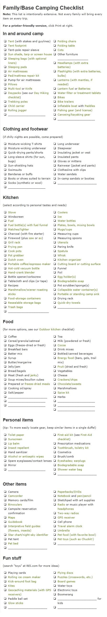 Camping Checklist from REI list for car campers is intentionally comprehensive so you don't forget anything important. Note: Not every camping party will bring every item.
