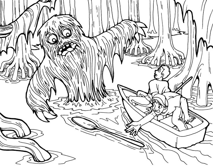 FREE Swamp Monster coloring page just for Halloween