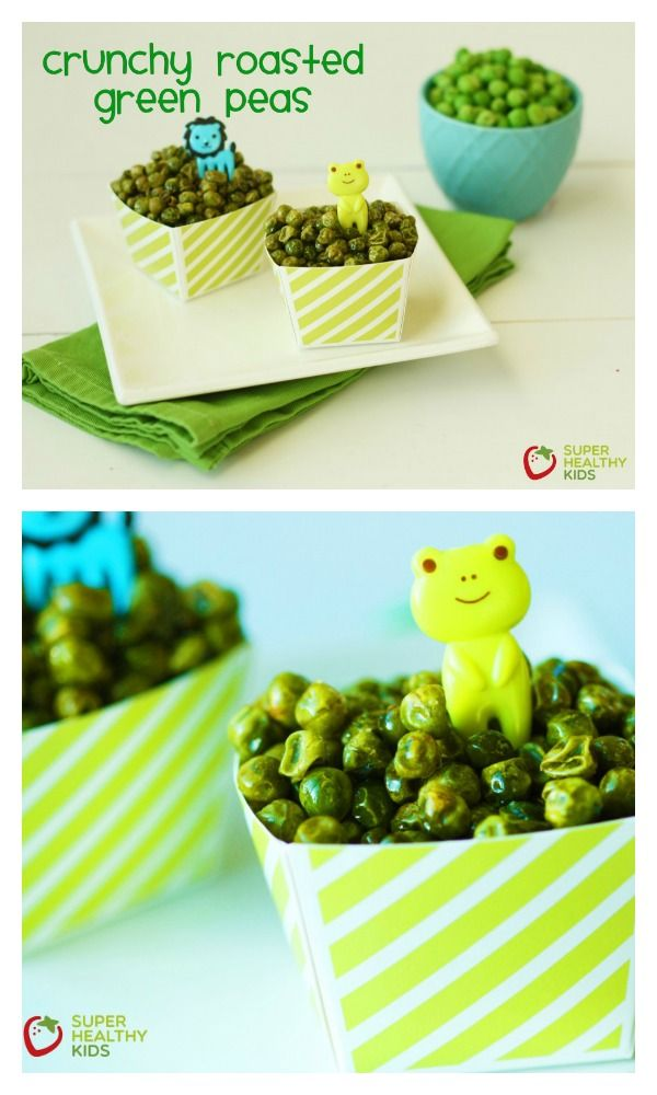 Crunchy Roasted Green Peas Recipe - Crunchy snack for toddlers! http://www.superhealthykids.com/crunchy-roasted-green-peas/