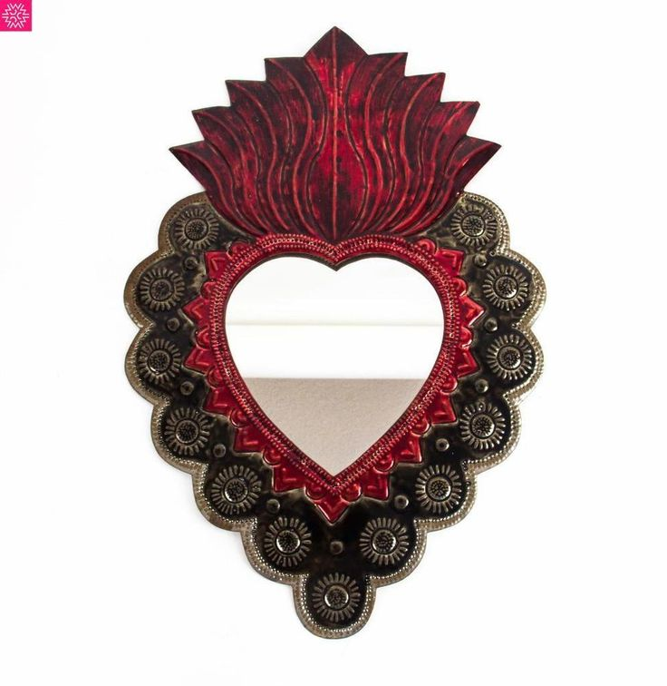 Mexican Mirror Pierced Metal Tin Dolores Milagro Sacred Heart Wall Hanging Decor #Handmade #Southwestern