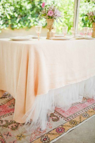 Vintage Glam Twinkle Little Star Baby Shower - tulle table linens