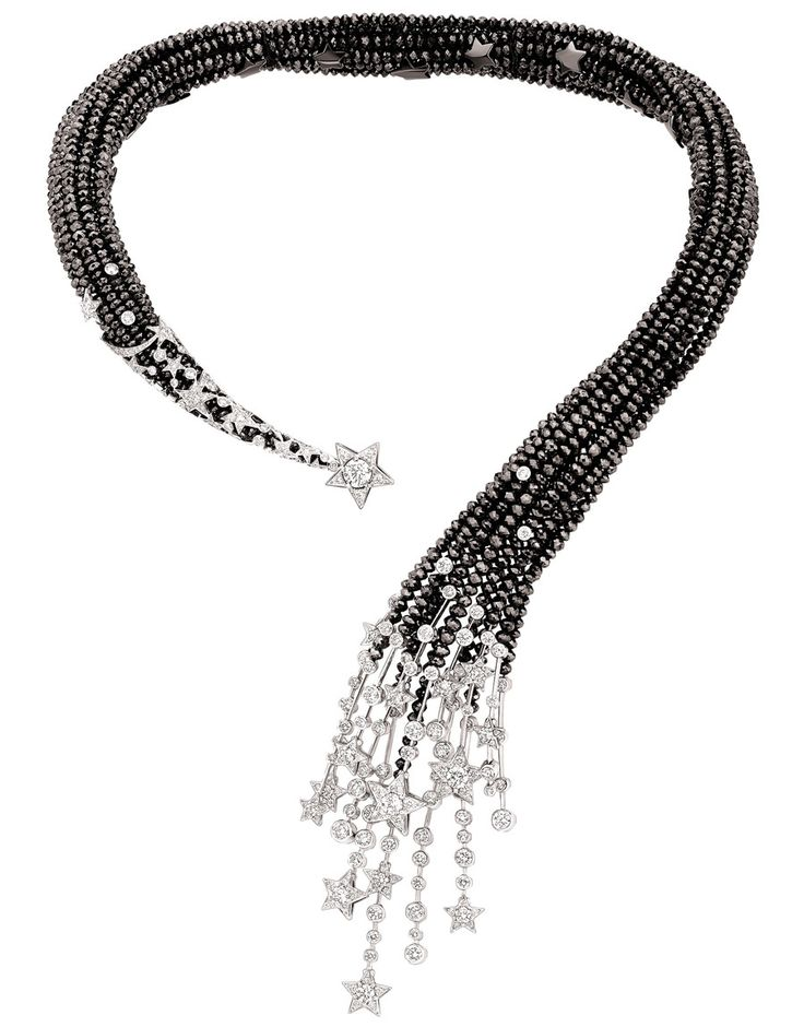 "Chanel ""Nuit de Diamants"" necklace in 18-karat white gold set with 319 brilliant-cut diamonds for a total weight of 11.9 carats 7 round-cut diamonds for a total weight of 2.9 carats and facetted black-diamond beads for a total weight of 453.3 carats."