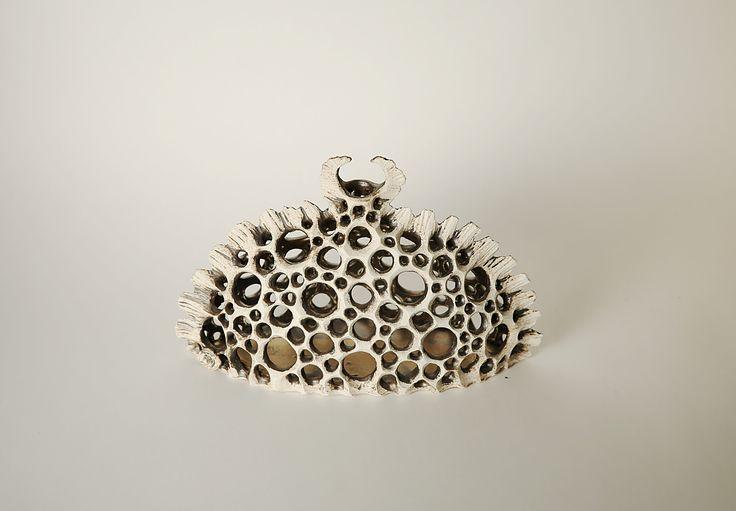 Skeleton Vase Handbuilt, carved clay, plankton, skeleton