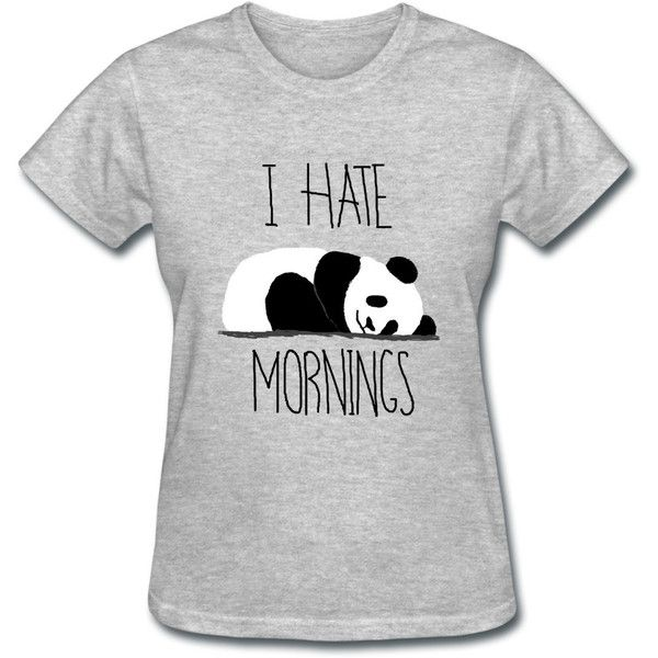 SupaShirts1 I Hate Mornings Sleeping Panda Women's T-Shirt Girl Tee... ($17) ❤ liked on Polyvore featuring tops, t-shirts, shirts, blusas, light blue, women's clothing, sport t shirt, henley shirt, graphic tees and print shirts