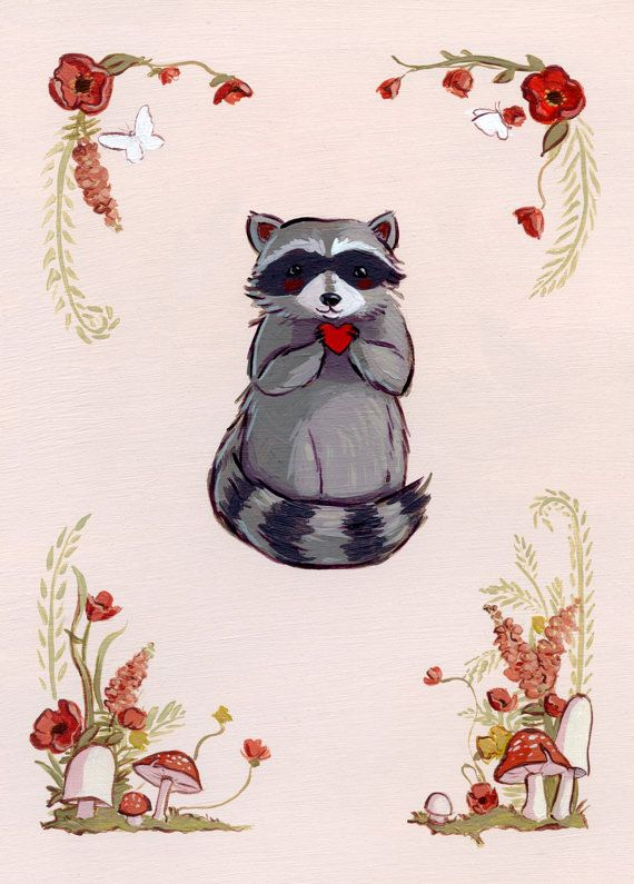 This raccoon is too cute- hes holding a little heart, ready to present it to the recipient of this card. It is bordered with paintings of