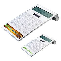 "#31315 | Sleek Desk Calculator. 10-digit dual-power calculator with acrylic keys One-touch, easy operation plus all basic functions. Button cell battery included. Materials: ABS (Acrylonitrile Butadiene Styrene) Plastic. Product Size: 4-1/16""w x 7-1/2""h x 1-1/2""d. Product Colors: White. Price Includes: 1-colour imprint in one location. For details on how to order this item with your logo branded on it contact ww.fivetwentyfour.ca"