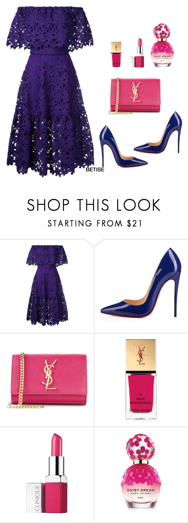 """JUST LACE...... !"" by betty-sanga ❤ liked on Polyvore featuring Bambah, Christian Louboutin, Yves Saint Laurent, Clinique and Marc Jacobs"