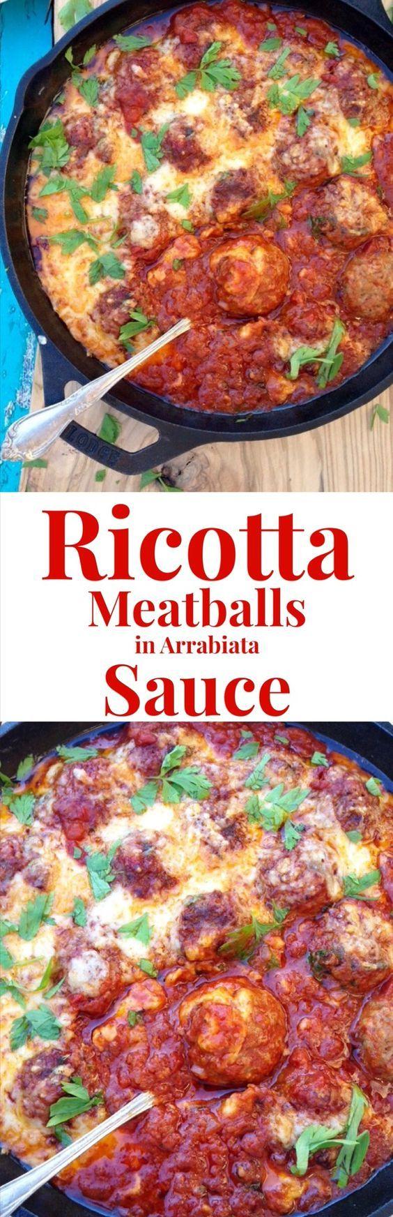 Ricotta Meatballs Recipe in Arrabiata Sauce | Recipe | Ricotta, Sauces ...