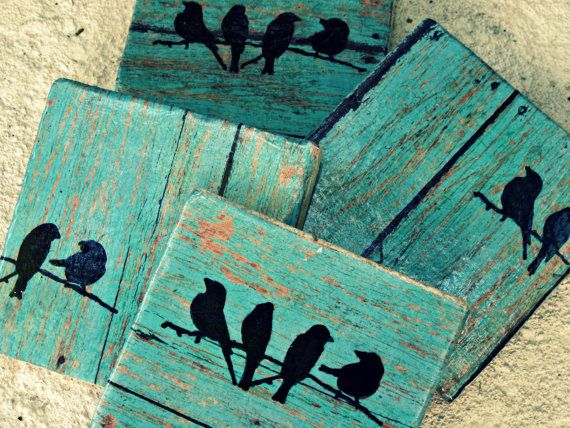 Rustic Coasters--Teal Wood Tile with Birds...set of 4, employee gift, coworker gift, Christmas gift, wedding gift, present