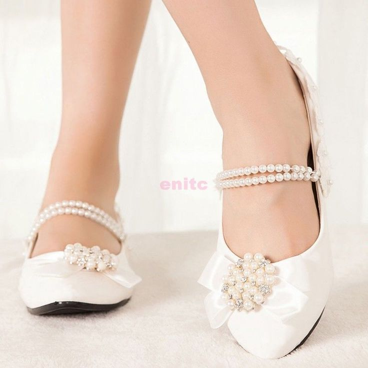 Lace Princess Across Pearl Kitten Shoes Wedding Bow Knot Flats Heels Bridal e04