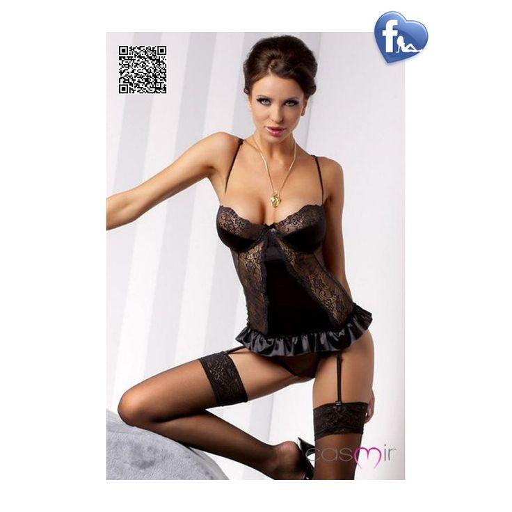 La Blanchet Black  www.salesfringues.com  - Guêpière.  - CASMIR. - String assorti. - 2 pièces. ---------------------------------------- http://salesfringues.com/guepieres/4051-blanchet-black-gupire-casmir-5901691990463.html#/couleur-noir/taille-sm
