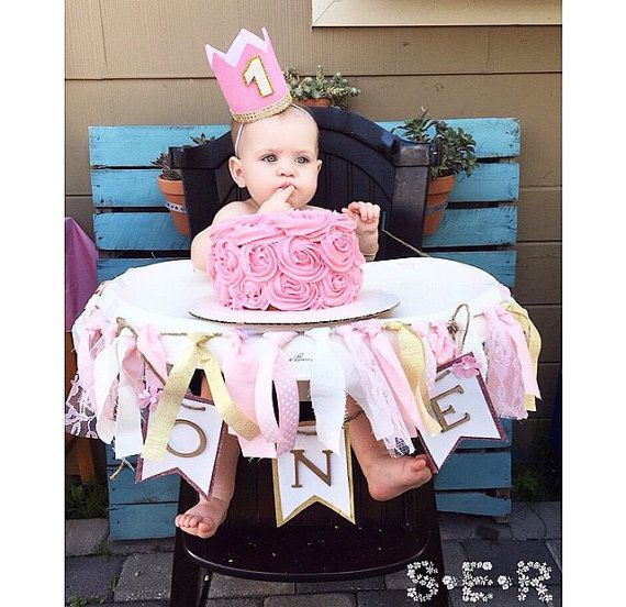 Princess Birthday Crown, Pink and Gold birthday crown, babygirl birthday crown, smash cake birthday crown, photo props