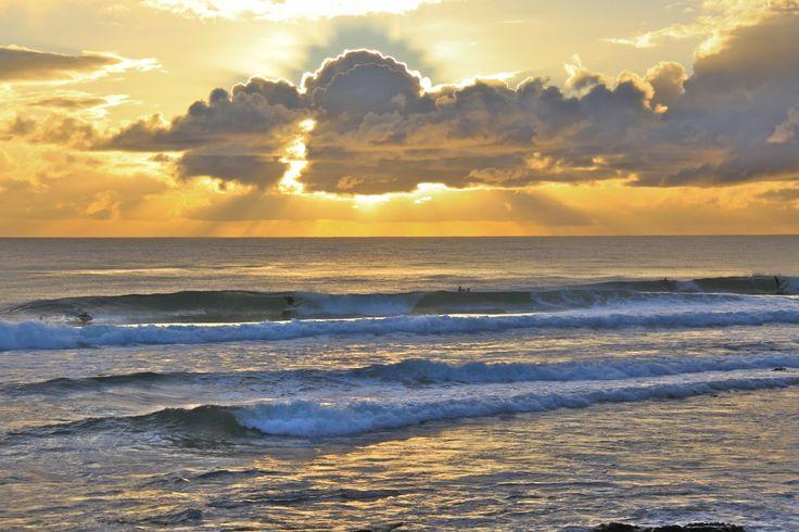 Sunrise and surf at Burleigh Heads, Gold Coast, Australia.