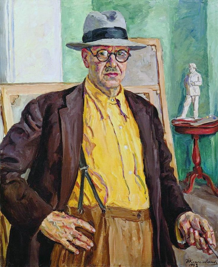 Self-portrait (in yellow shirt), 1943  Pyotr Konchalovsky