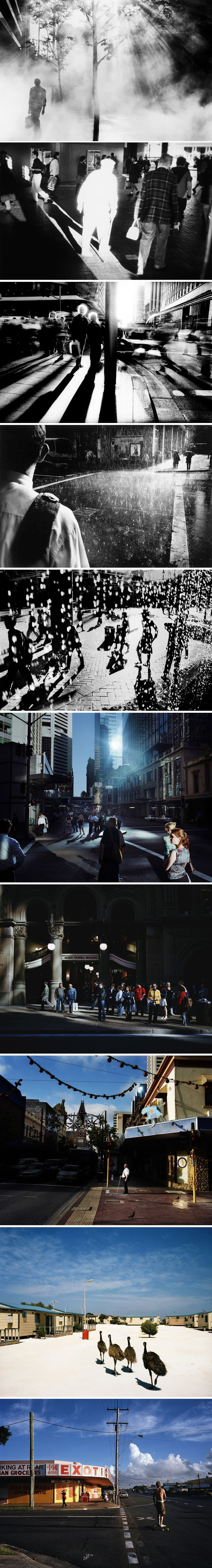 Trent Parke - amazing use of slow and fast shutter speed, formal elements and composition to create amazing moments of atmosphere out of the everyday street environment.