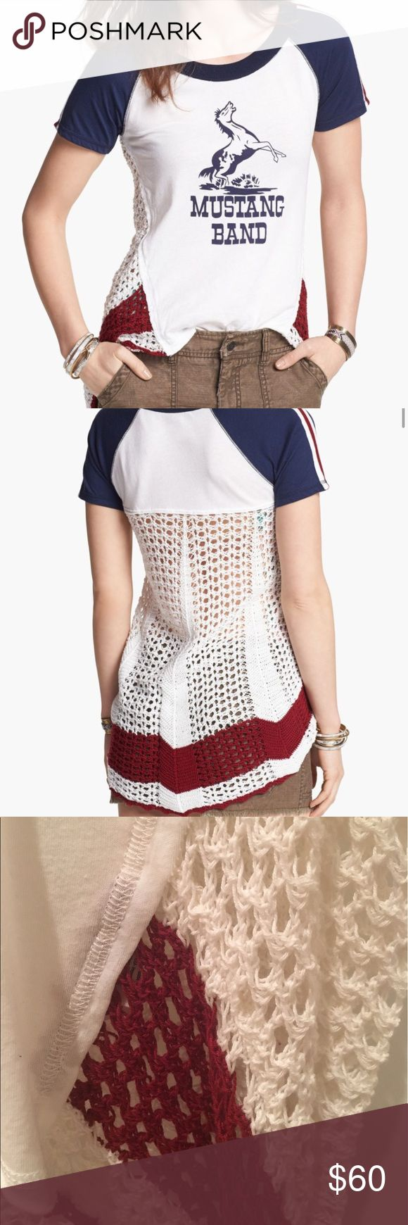 "Free People Mustang Band Crochet Tee Free People ""Mustang Band"" graphic white Tee with navy sleeves. Embellished with red/white stripe detailing in shoulders and crochet sides and back. Back hangs lower than front. Size: S Free People Tops Tees - Short Sleeve"