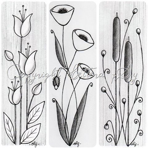 Flower doodle ideas - love the length and flow - these would make lovely bookmarks.