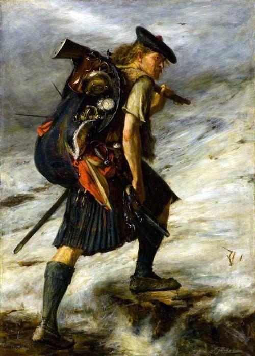 """Survivor of the 1745 Jacobite Rebellion. Illustration (John Pettie) du roman Waverley de Sir Walter Scott. """"Le récit met à nu les ressorts de la crise aboutissant à la rébellion jacobite de 1745. Le conflit oppose l'armée du roi en place, le protestant George II de Hanovre, aux jacobites commandés par le prince catholique Charles Édouard Stuart, petit-fils de Jacques VII d'Écosse (Jacques II d'Angleterre) et fils du prétendant Jacques François Stuart."""" (quote WIKI…"""
