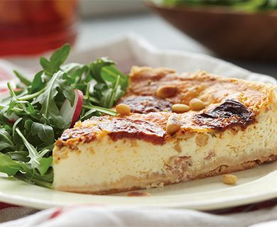 Roasted Tomato and Bocconcini Quiche with Tre Stelle® mini mini Bocconcini and Grated Romano Cheese #quiche #bocconcini