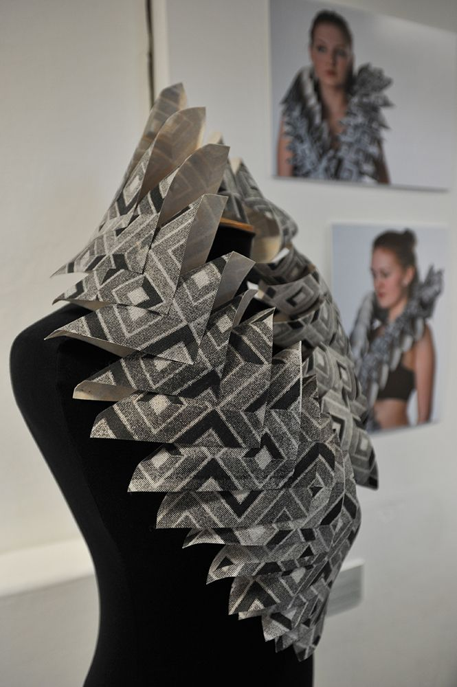 Fabric Manipulation - 3D collar using printed, layered & folded fabric squares; fashion design detail // Ellie Coleman