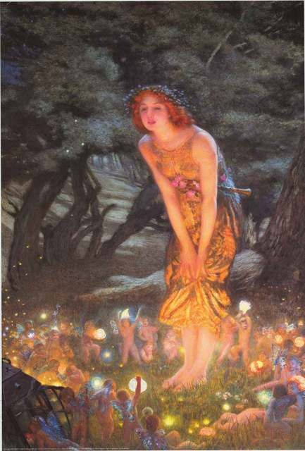 A colorful poster of the famous painting by Edward Robert Hughes called Midsummer Eve! For anyone who loves fairies. Published in 2000. Ships fast. 24x36 inches. Need Poster Mounts..? bm6516 avAP601