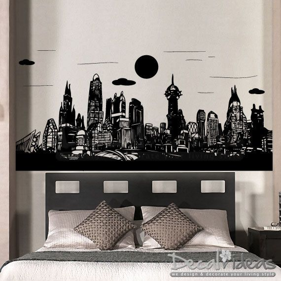 Gotham City Batman  Skyline City Buildings  Vinyl by StunningWalls, $86.00