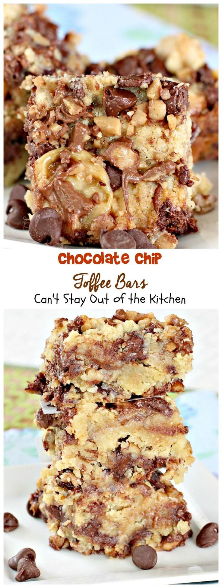 Chocolate Chip Toffee Bars, making this Gluten Free wiyh Krusteaz GF Flour blend!