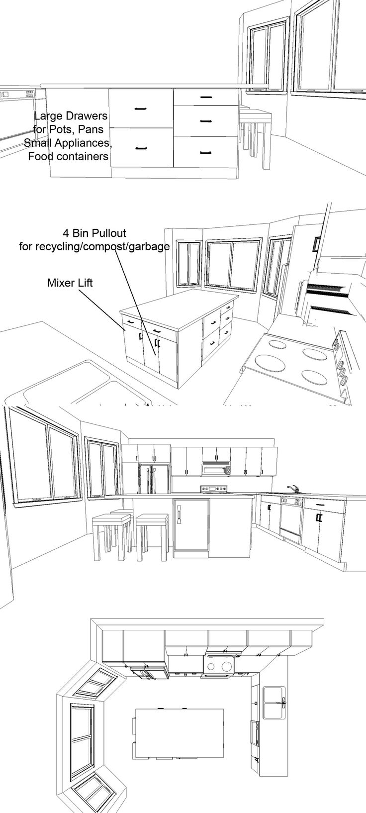 4 perspective views of possible island design with cabinets for mixer lift/waste…