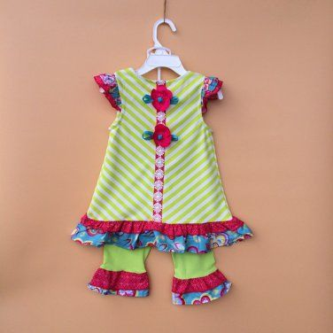 Baby girls size 2T lime green pants and top by Rare Editions C777