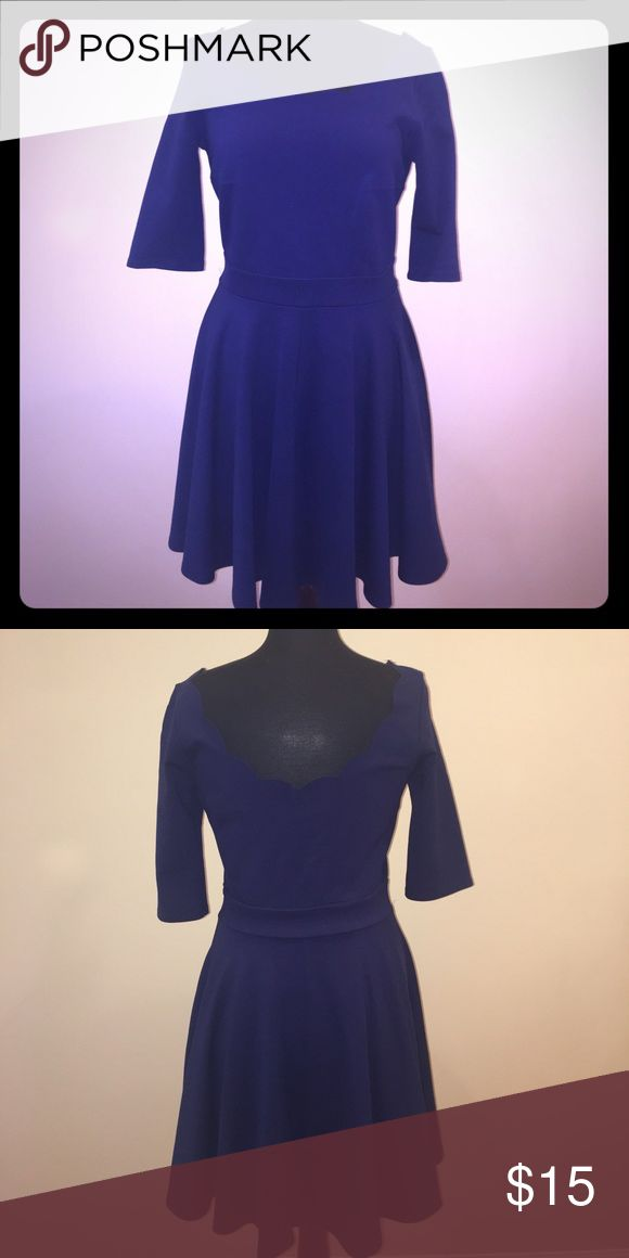 Sleek boutique scallop neck dress Simple but elegant Lulu's boutique navy dress. 3/4 sleeves, hidden side zip with scallop neck. 65% rayon, 30% nylon, 5% spandex. Size large Lulu's Dresses Midi
