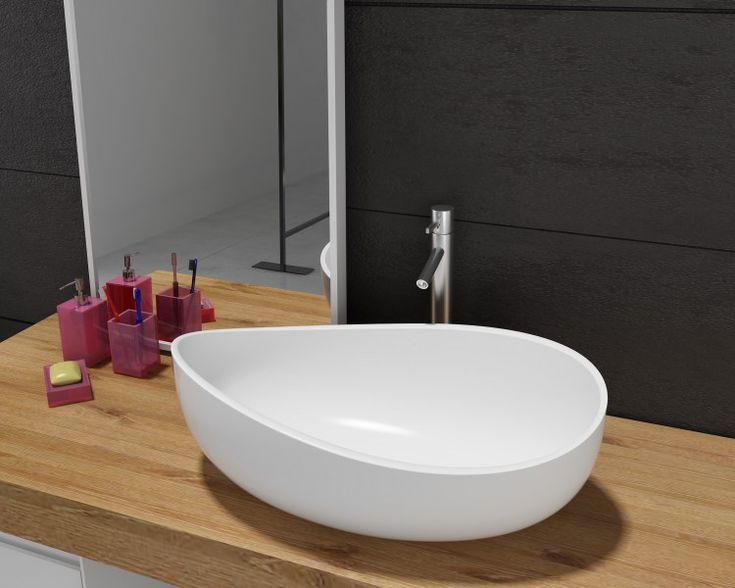 Mineralguss Aufsatzbecken Waschbecken WAVE PB2001 - 60x37x21cm - Pure Acrylic günstig online kaufen