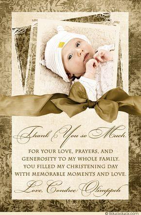 Fine Baptism Thank You Cards - Framed Photo Golden Ivory Floral Print