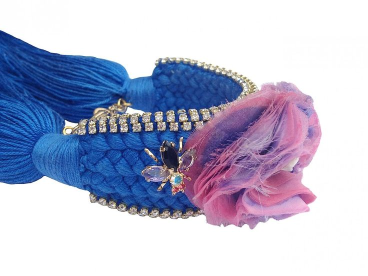 Braided cuff in cobalt blue braid with hand-made silk flower - Jolita Jewellery. ON SALE NOW. Can be made in OTHER COLOURS. Was £315 now £175.