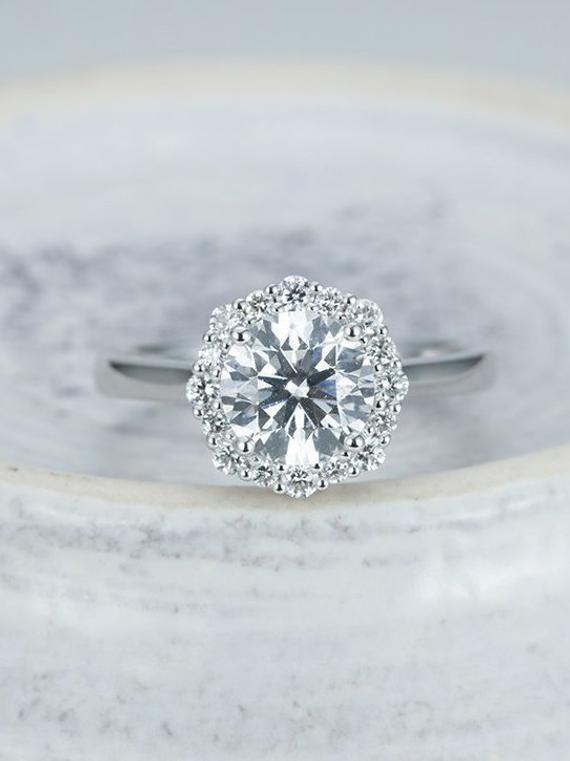 32cd4867303754 vintage Moissanite Engagement Ring halo women 14k white Gold diamond round  cut Antique Unique Wedding Birthstone prong set Anniversary Jewels:  Moissanite ...