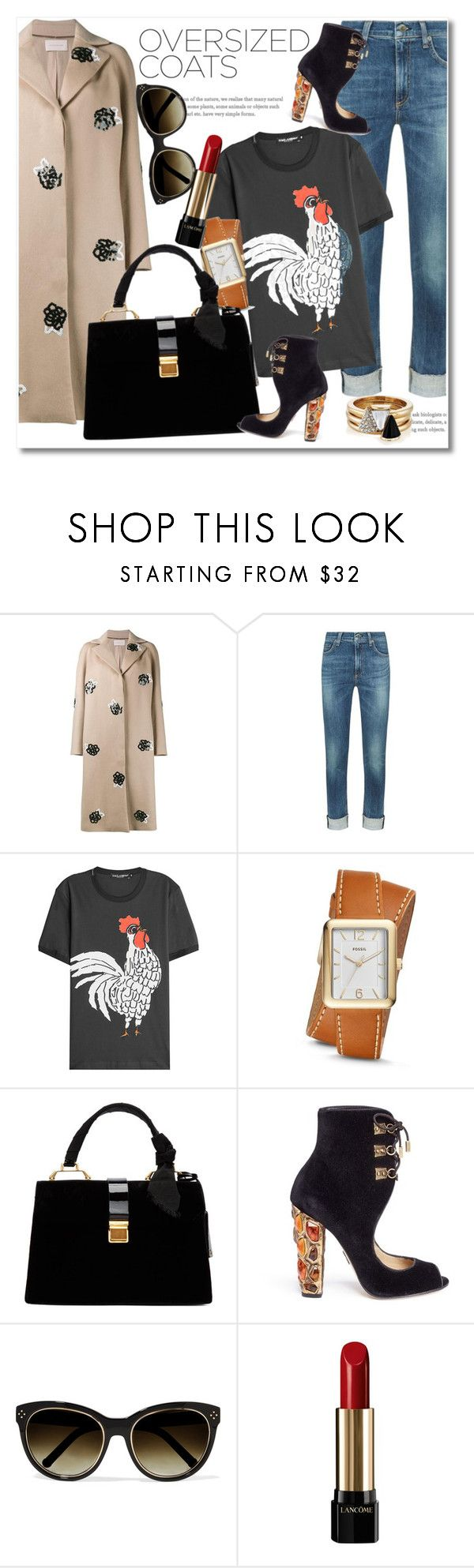 """Oversized Coats Beige"" by vkmd ❤ liked on Polyvore featuring Christopher Kane, rag & bone, Dolce&Gabbana, FOSSIL, Miu Miu, Paul Andrew, Chloé, Lancôme, Brixton and oversizedcoats"