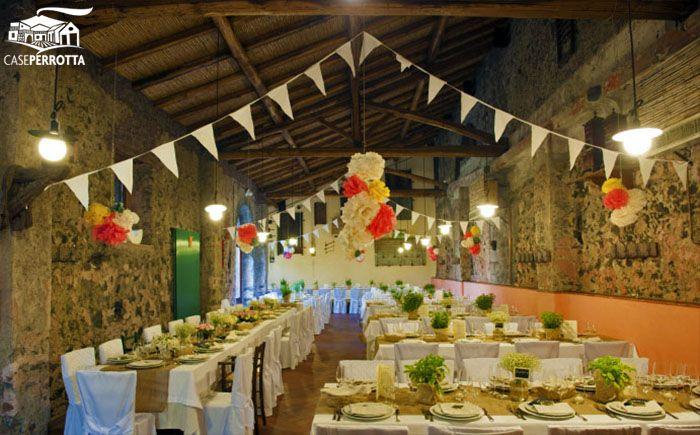 Allestimento Sala Cantina per matrimonio country chic