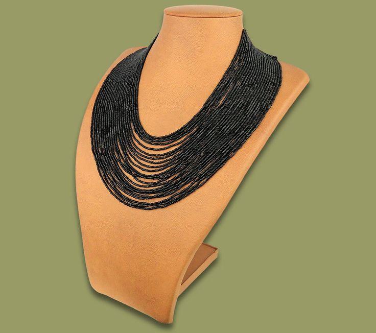 Beaded Necklace Sibaya Black