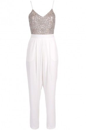 TFNC POLY CUT OUT SEQUIN JUMPSUIT | TFNC JUMPSUITS